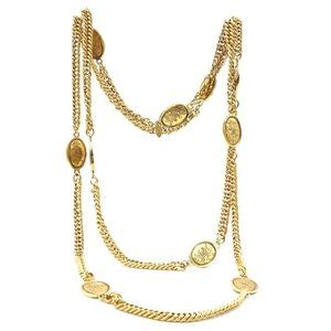 Chanel Gold 10 Motif Cc Crown Oval Charms Necklace